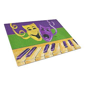 Mardi Gras Key Board with Comedy and Tragedy Glass Cutting Board