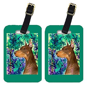 Carolines Treasures  SS8457BT Pair of 2 Doberman Luggage Tags