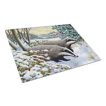 Carolines Treasures  ASA2183LCB Winter Badgers Glass Cutting Board Large