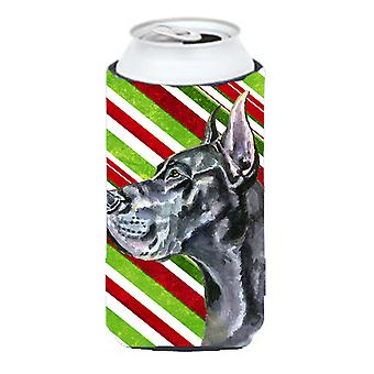 Black Great Dane Candy Cane Holiday Christmas Tall Boy Beverage Insulator Hugger