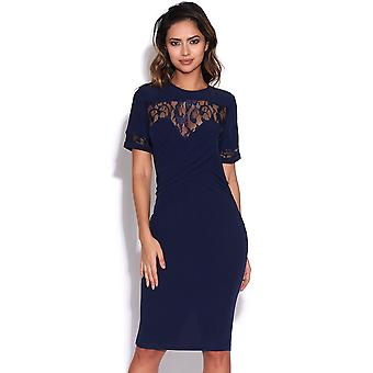 Pleated Front Lace Detail Dress