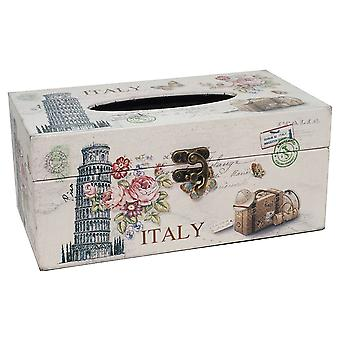 Vintage Style Italy Themed Tissue Box with Latch Fastening