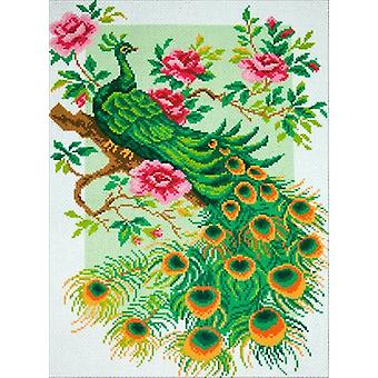 Collection D'Art Stamped Cross Stitch Kit 49X37cm-Peacock CDPA0775