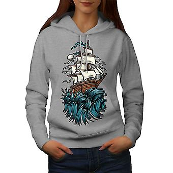 Ship Waves Sail Horror Women GreyHoodie | Wellcoda