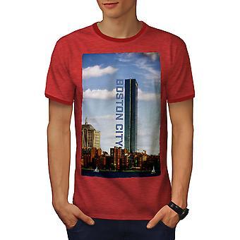 Ville de Boston hommes urbains Heather rouge / RedRinger T-shirt   Wellcoda