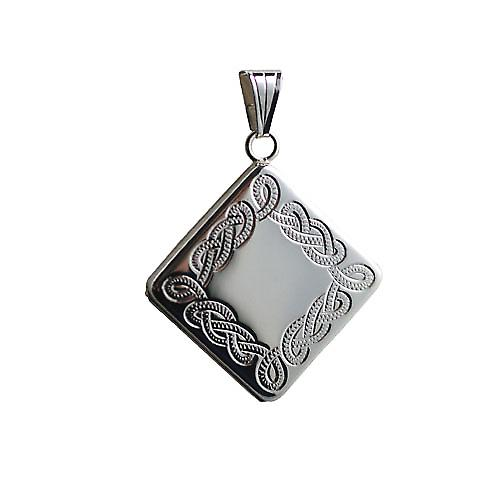 Silver 22mm diamond shaped hand engraved Celtic design Locket