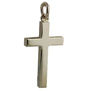 9ct Gold 25x15mm vlakte massief blok Cross