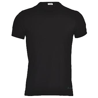 Dolce & Gabbana FUEBO Crew Neck Stretch Cotton T-Shirt, Black With Blue Logo, Small