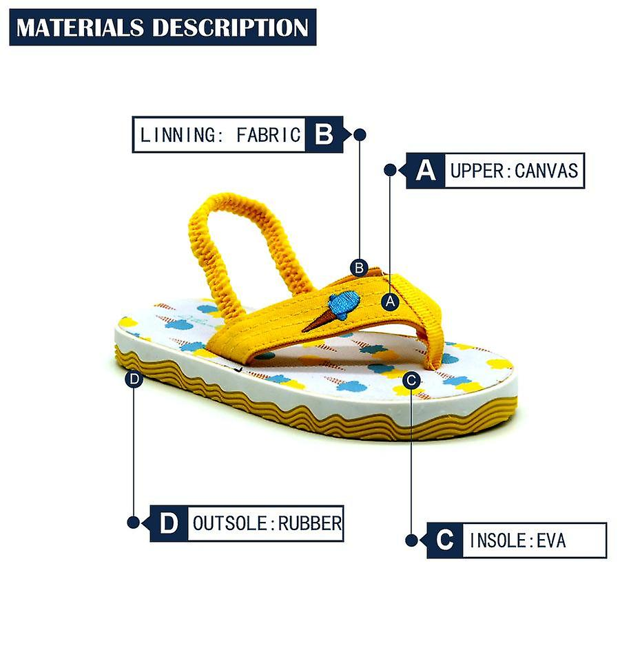 Atlantis Shoes Kids Unisex Girls & Boys Supportive Cushioned Comfortable Sandals Flip Flops Ice Cream Lover Scream Yellow