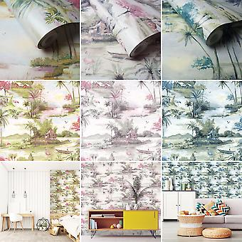 Manyara Wallpaper Elephant Trees Flowers Jungle Birds Boats Flamingos Holden