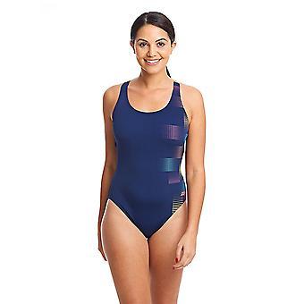 ZOGGS Women Weaver Actionback Swimsuit - Navy/Multi