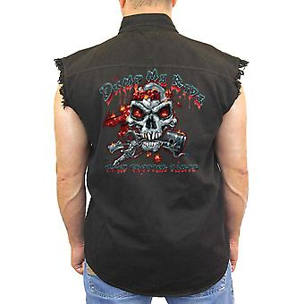 Men's Sleeveless Denim Shirt Dump My Ride Used Chopper Parts