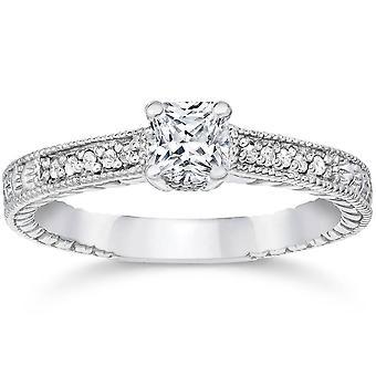 1/3 ct プリンセス カット ダイヤモンド婚約指輪 14 K ホワイトゴールド