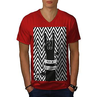 Rock Festival Art Music Men RedV-Neck T-shirt | Wellcoda