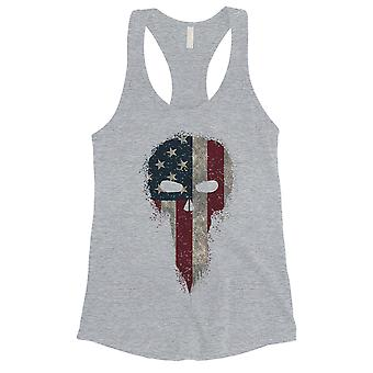Vintage American Skull Womens Grey Tank Top Cute 4th of July Outfit