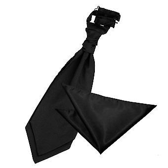 Gravata de casamento cetim preto liso & conjunto de bolso quadrado