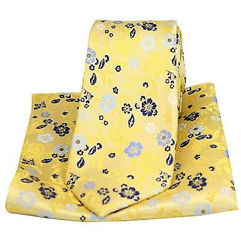 Posh and Dandy Flower Design Tie and Pocket Square Set - Bright Gold