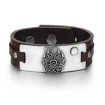 Aztec Ancient Celtic Knots Wolf Paw Amulet White Simulated Cats Eye Brown Leather Bracelet