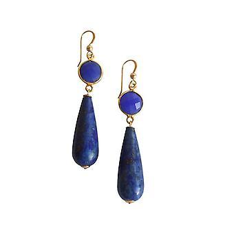 Gemshine kvinders øreringe forgyldt Onyx lapis lazuli blå PARTY DROPS 5 cm