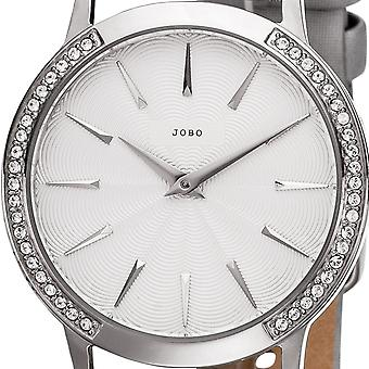 JOBO ladies wrist watch quartz stainless steel with Crystal element leather strap grey