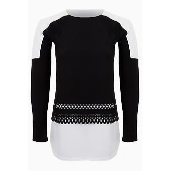 Ladies manches longues crêpe texturé contraste ourlet courbe Laser Cut Top T-Shirt