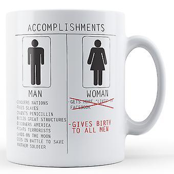 Men And Women Accomplishments - Printed Mug