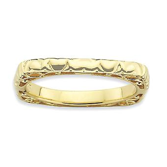 2.25mm Sterling Silver Stackable Expressions Polished Gold-FlashedSquare Ring - Ring Size: 5 to 10