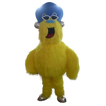 mascot SPOTSOUND yellow, hairy, monster with a hat