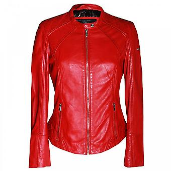 Rino & Pelle Women's Long Sleeve Red Leather Jacket