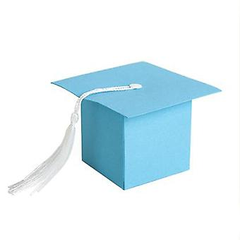 TRIXES 50PC blau Miniatur Graduierung Gunst Boxen mit Quaste Dekoration