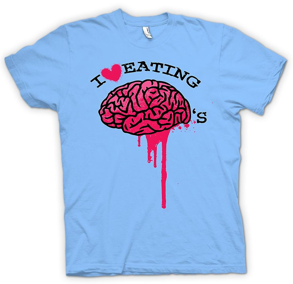 Mens T-shirt - I Love Eating Brains - Zombie - Funny
