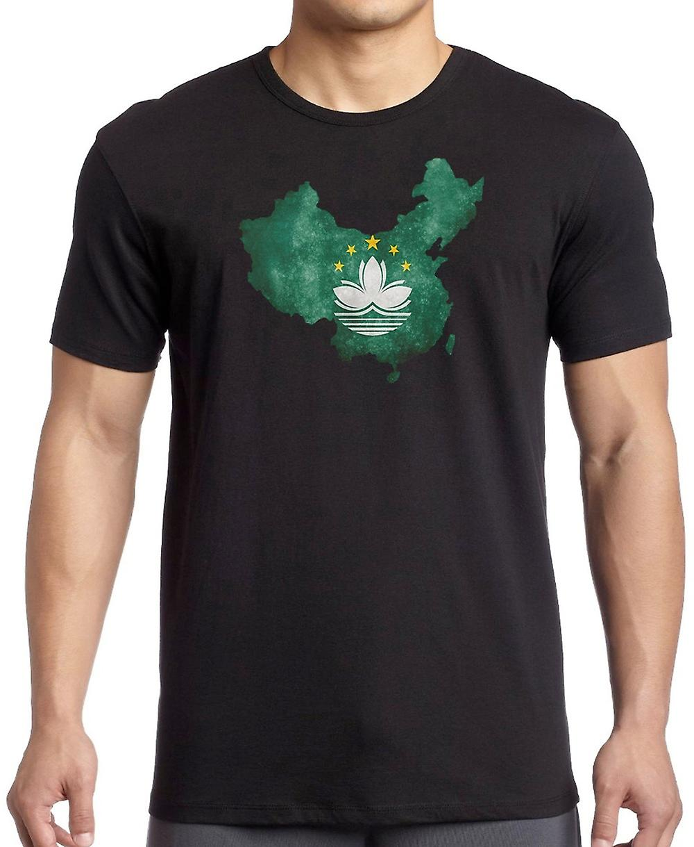 Macau Flag Map T Shirt