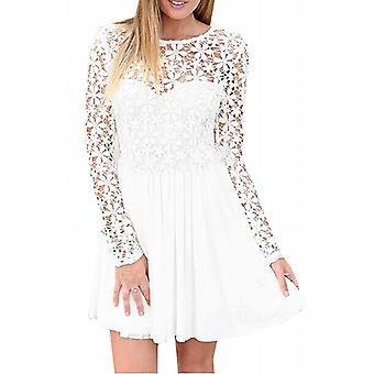 Waooh - Short dress with sleeves and neckline openwork Gair