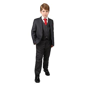 Boys Dark Grey Regular Fit Wedding Pageboy Suit