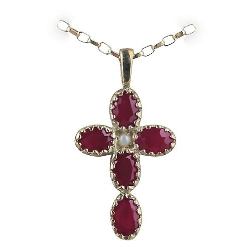 9ct Gold 25x16mm Gem set Cross with 5 Rubies and 1 pearl with a belcher Chain 16 inches Only Suitable for Children
