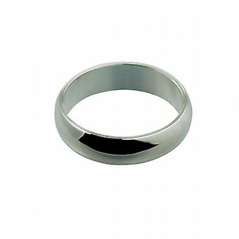 Silver 6mm plain D shaped Wedding Ring Size Q