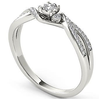 IGI certifié 14k or blanc 0,15 Ct ronde Pierre bague de fiançailles diamant trois