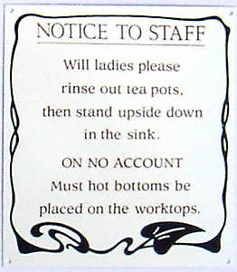 Notice to Staff / Hot Bottoms enamelled steel wall sign