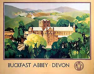 Buckfast Abbey Devon (old rail ad.) fridge magnet