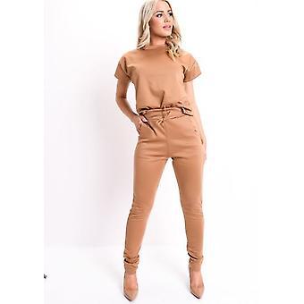 Boxy Short Sleeve Lounge Co Ord Set Tan Brown