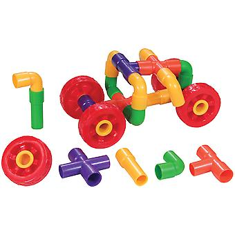 Bigjigs Toys Educational Pipetubes with Wheels (144 Pieces) Construction Sorting