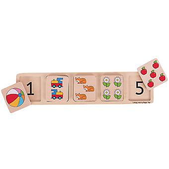 Bigjigs Toys Chunky Wooden Lift and Match Jigsaw Puzzle (Numbers)
