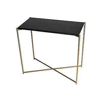 Gillmore Space Black Marble Small Console Table With Brass Cross Base