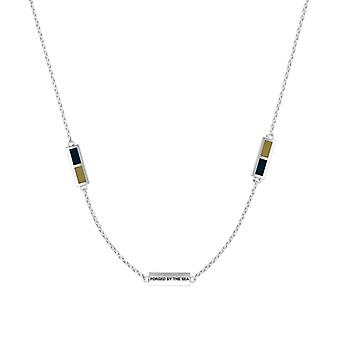 Us Navy - Forged By The Sea Engraved Triple Station Necklace In Dark Blue And Light Brown