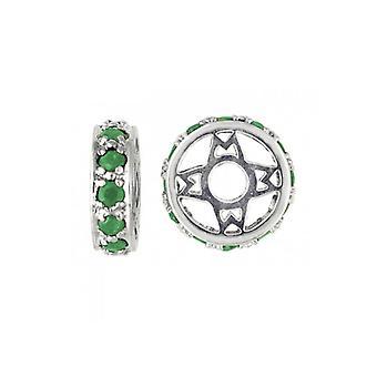Storywheels Silver & Emerald Wheel Charm S117E