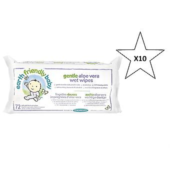 Earth Friendly Baby Gentle Aloe Vera Wet Wipes - Natural Organic X10