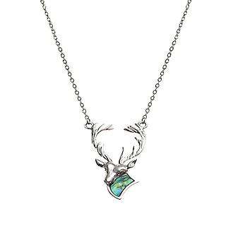 Eternal Collection Monarch Of The Glen Paua Shell Silver Tone Stag Necklace