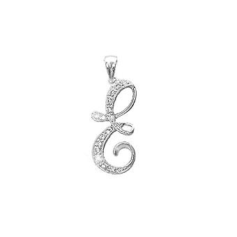 Jewelco London 9ct White Gold Pave Set Round G SI 0.09ct Diamond Identity Script Initial ID Charm Pendant Letter E