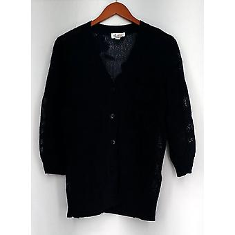 Denim et Cie Sweater Button Front 3/4 Manche Floral Mesh Blue New A263648