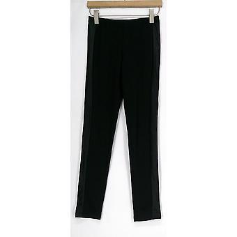 Kate & Mallory Leggings Faux Leather Side Panel Ponte Black Womens A412888